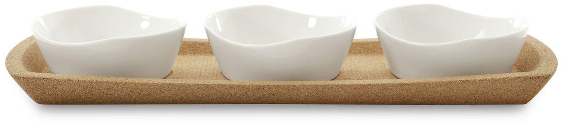Набор мисок для закусок BergHOFF Eclipse, на подставке, 11 х 10,5 х 4 см, 4 предмета115510Набор мисочек для закусок BergHOFF Eclipse выполнен из высококачественного фарфора, покрытого слоем глазури. В набор входит три мисочки для закусок на пробковой подставке. Изделие имеет лаконичный дизайн. Она прекрасно впишется в интерьер вашей кухни и станет достойным дополнением к кухонному инвентарю. Размер миски: 11 х 10,5 х 4 см.Размер подставки: 39 х 13,5 х 4,5 см.