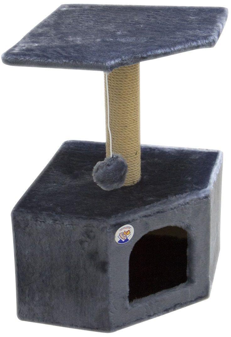 Дом для кошек Зооник, угловой, цвет: серый, 40 х 40 х 64 см2207-3Угловой домик Зооник для кошек сделан из одноцветного меха, сверху имеет дополнительную платформу для котиков и игрушку в виде плюшевого шарика, привязанного к верхней платформе. Когтеточка сделана из пеньки. Этот угловой домик для кошки займёт совсем мало места в вашем доме.