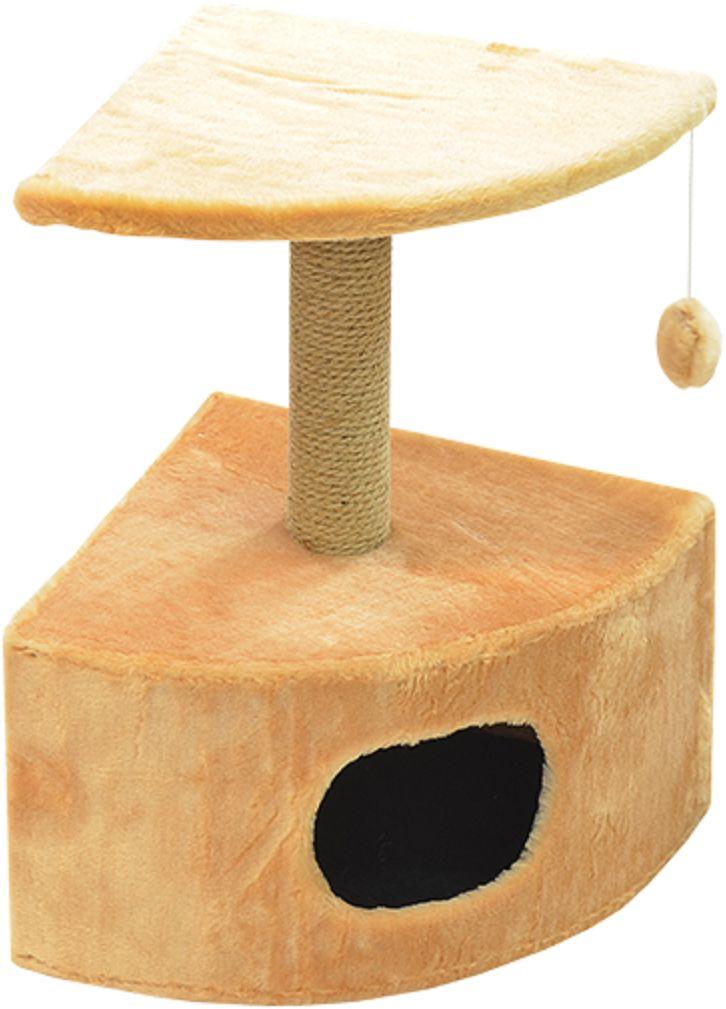 Дом для кошек Зооник, угловой, цвет: бежевый, 43 х 43 х 67 смЛ24/1 Лежак открытый диван _ орхидея на фиолетовом, материал бязь, поролон синтепонУгловой домик Зооник для кошек сделан из одноцветного меха, сверху имеет дополнительную платформу для котиков и игрушку в виде плюшевого шарика, привязанного к верхней платформе. Когтеточка сделана из пеньки. Этот угловой домик для кошки займёт совсем мало места в вашем доме.