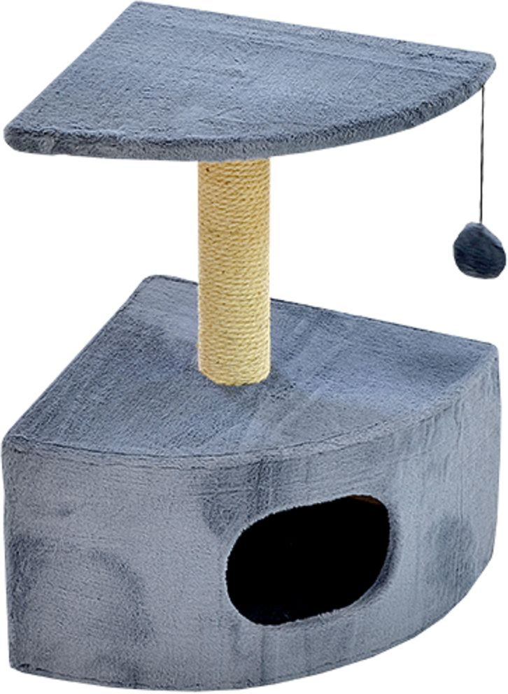 Дом для кошек Зооник, угловой, цвет: серый, 43 х 43 х 67 см2208-4Угловой домик Зооник для кошек сделан из одноцветного меха, сверху имеет дополнительную платформу для котиков и игрушку в виде плюшевого шарика, привязанного к верхней платформе. Когтеточка сделана из пеньки. Этот угловой домик для кошки займёт совсем мало места в вашем доме.