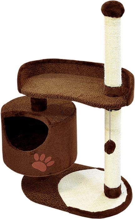 Комплекс для кошек Зооник, цвет: темно-коричневый, 82 х 43 х 121 см0120710Комплекс для кошек Зооник изготовлен из коврового велюра. Просторный домик подойдет для котят и для взрослых кошек. Над основным местом отдыха находится дополнительная площадка, на которой ваш любимец сможет полежать свесив лапки. Также предусмотрена когтеточка из комбинированной веревки(пенька/сизаль) и подвесная игрушка. Крышу домика украшает аппликация в виде кошки. Домики Зооник отличает высокое российское качество при доступной цене.