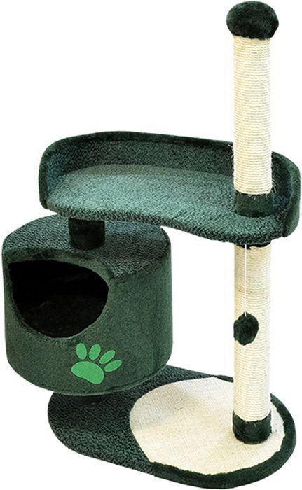 Комплекс для кошек Зооник, цвет: зеленый, 82 х 43 х 121 см22100-6Комплекс для кошек Зооник изготовлен из коврового велюра. Просторный домик подойдет для котят и для взрослых кошек. Над основным местом отдыха находится дополнительная площадка, на которой ваш любимец сможет полежать свесив лапки. Также предусмотрена когтеточка из комбинированной веревки(пенька/сизаль) и подвесная игрушка. Крышу домика украшает аппликация в виде кошки. Домики Зооник отличает высокое российское качество при доступной цене.