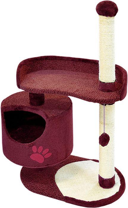 Комплекс для кошек Зооник, цвет: бордовый, 82 х 43 х 121 см0120710Дом для кошек круглый Зооник изготовлен из коврового велюра. Просторный домик подойдет для котят и для взрослых кошек. Над основным местом отдыха находится дополнительная площадка, на которой ваш любимец сможет полежать свесив лапки. Также предусмотрена когтеточка из комбинированной веревки(пенька/сизаль) и подвесная игрушка. Крышу домика украшает аппликация в виде кошки. Домики ТМ Зооник отличает высокое российское качество при доступной цене. Цвет бордовый.