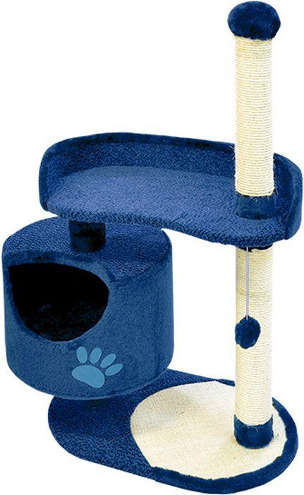 Комплекс для кошек Зооник, цвет: синий, 82 х 43 х 121 смК103К ЛаКомплекс для кошек Зооник изготовлен из коврового велюра. Просторный домик подойдет для котят и для взрослых кошек. Над основным местом отдыха находится дополнительная площадка, на которой ваш любимец сможет полежать свесив лапки. Также предусмотрена когтеточка из комбинированной веревки(пенька/сизаль) и подвесная игрушка. Крышу домика украшает аппликация в виде кошки. Домики Зооник отличает высокое российское качество при доступной цене.
