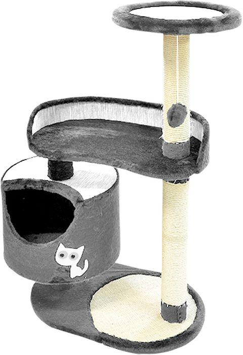 Комплекс для кошек Зооник, цвет: серый, 82 х 43 х 118 см22101-3Комплекс для кошек Зооник изготовлен из коврового велюра. Просторный домик подойдет для котят и для взрослых кошек. Над основным местом отдыха находится 2-е дополнительных площадки, на которых ваш любимец сможет полежать свесив лапки. Также предусмотрена когтеточка из комбинированной веревки(пенька/сизаль) и подвесная игрушка. Крышу домика украшает аппликация в виде кошки. Домики Зооник отличает высокое российское качество при доступной цене.