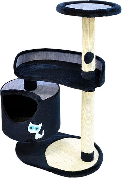 Комплекс для кошек Зооник, цвет: синий, 82 х 43 х 118 см0120710Комплекс для кошек Зооник изготовлен из коврового велюра. Просторный домик подойдет для котят и для взрослых кошек. Над основным местом отдыха находится 2-е дополнительных площадки, на которых ваш любимец сможет полежать свесив лапки. Также предусмотрена когтеточка из комбинированной веревки(пенька/сизаль) и подвесная игрушка. Крышу домика украшает аппликация в виде кошки. Домики Зооник отличает высокое российское качество при доступной цене.