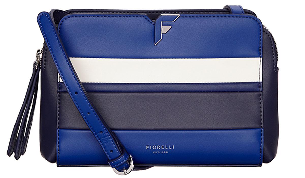 Сумка женская Fiorelli, цвет: синий, белый, черный. 8637 FH Riviera Strp10931-1Элегантная женская сумка Fiorelli изготовлена из качественной искусственной кожи. Модель с двумя отделениями закрывается на молнии. На лицевой части имеется большой открытый карман. Сумка оснащена плечевым ремнем, который можно регулировать по длине.