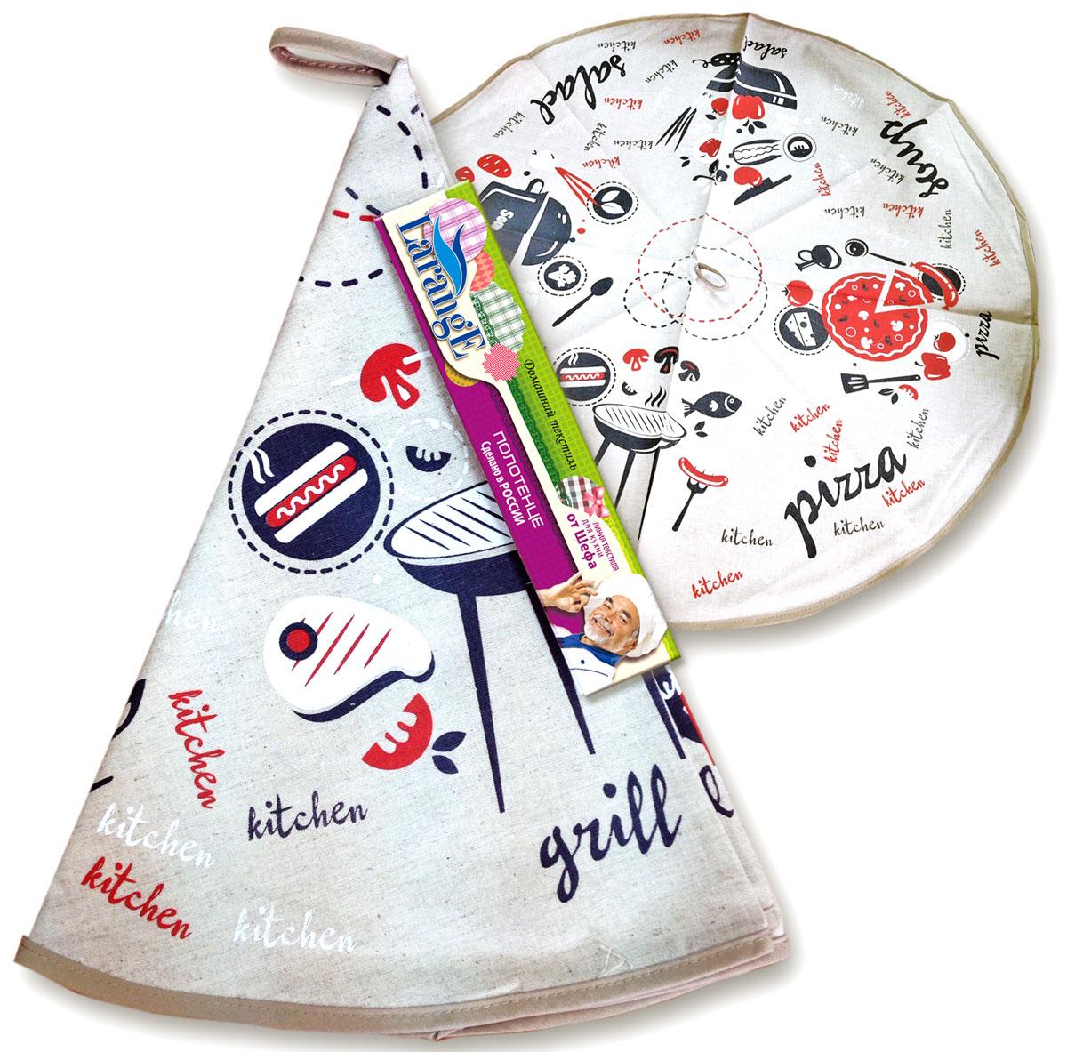 Полотенце От Шефа, круглое, диаметр: 70 см, полулен, шелкографияVT-1520(SR)Кухонный текстиль всегда выполняет двойную миссию — декоративную и практичную. Фартуки, полотенца, практичные комплекты из нескольких элементов с декором и прихватки -полезные и красивые кухонные аксессуары необходимые каждой хозяйке. Домашний текстиль из натурального льна — не просто следование модной тенденции к естественности. Лен — это действительно одно из самых ценных волокон растительного происхождения. Его уникальные свойства наделяют ткани ценными качествами. Льняная ткань — самая прочная и экологичная. Она практически не выгорает на прямом солнце, легко стирается и, при этом, не садится и не деформируется.