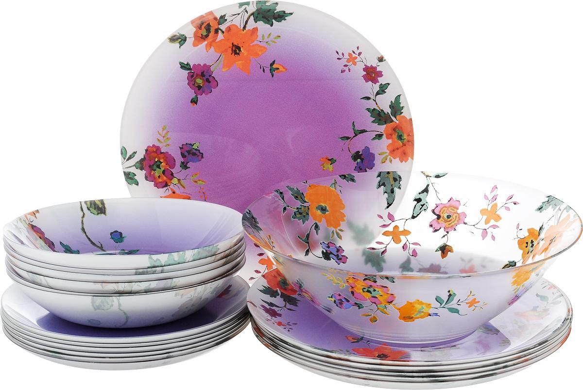 Набор столовый Luminarc Maritsa Purple, 19 предметов115510Столовый набор Luminarc Maritsa Purple состоит из 6 суповых тарелок, 6 обеденных тарелок, 6 десертных тарелок и глубокого салатника. Изделия, выполненные из высококачественного ударопрочного стекла, оформлены цветочным рисунком и имеют классическую круглую форму. Посуда отличается прочностью, гигиеничностью и долгим сроком службы, она устойчива к появлению царапин и резким перепадам температур. Такой набор прекрасно подойдет как для повседневного использования, так и для праздников или особенных случаев. Изделия можно мыть в посудомоечной машине и использовать в микроволновой печи. Диаметр суповой тарелки (по верхнему краю): 20 см. Высота суповой тарелки: 4 см. Диаметр обеденной тарелки (по верхнему краю): 26 см. Высота обеденной тарелки: 1,8 см. Диаметр десертной тарелки (по верхнему краю): 20,5 см. Высота десертной тарелки: 1,7 см. Диаметр салатника (по верхнему краю): 27 см. Высота стенки салатника: 8,5 см.