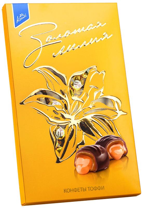 Konti Золотая лилия конфеты глазированные, 258 г0120710Глазированные конфеты на основе нежной ирисной массы с добавлением сгущенного молока. Содержат 17% сгущенного молока.