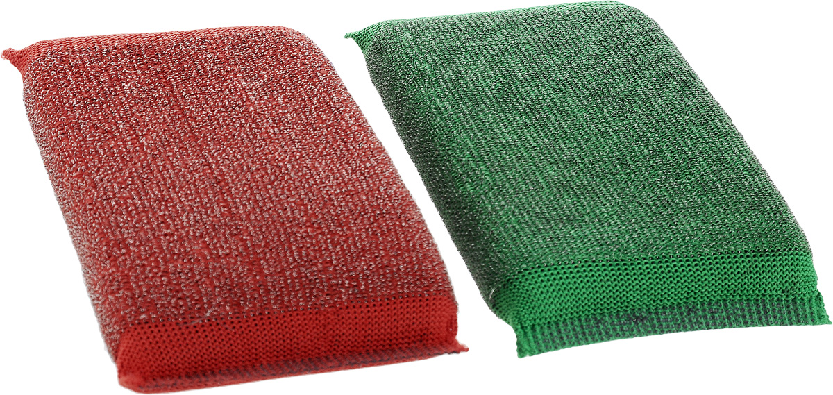 """Набор губок Хозяюшка Мила """"Задира"""" для мытья посуды, со стальной нитью, цвет: красный, зеленый, 2 шт"""