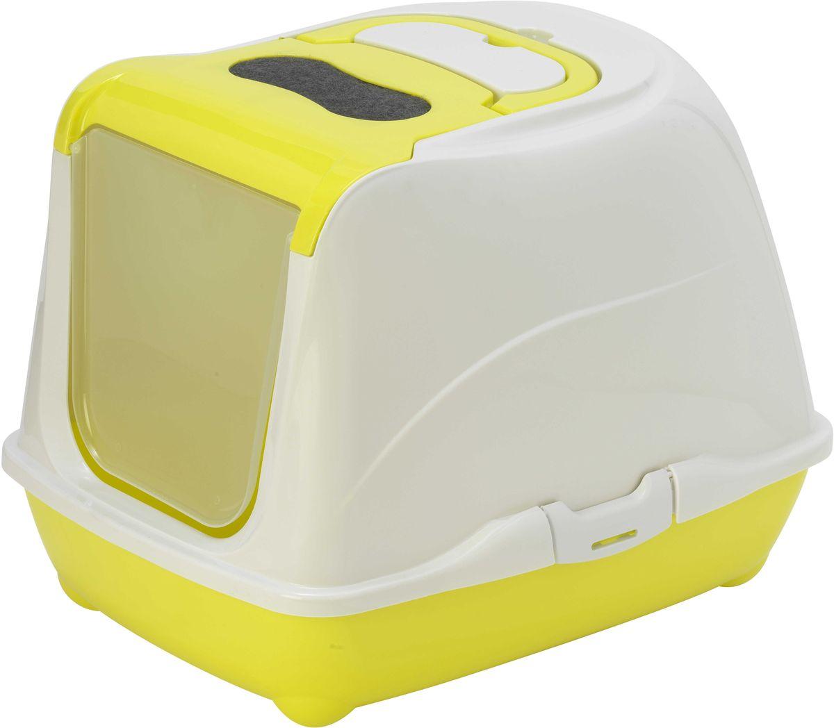 Туалет для кошек Moderna Flip Cat, закрытый, цвет: лимонный, 39 х 50 х 37 см0120710Закрытый туалет для кошек Flip Cat выполнен из высококачественного пластика. Туалет оснащен прозрачной открывающейся дверцей, сменным фильтром и удобной ручкой для переноски. Такой туалет избавит ваш дом от неприятного запаха и разбросанных повсюду частичек наполнителя. Кошка в таком туалете будет чувствовать себя увереннее, ведь в этом укромном уголке ее никто не увидит. Кроме того, яркий дизайн с легкостью впишется в интерьер вашего дома. Туалет легко открывается для чистки благодаря практичным защелкам по бокам.
