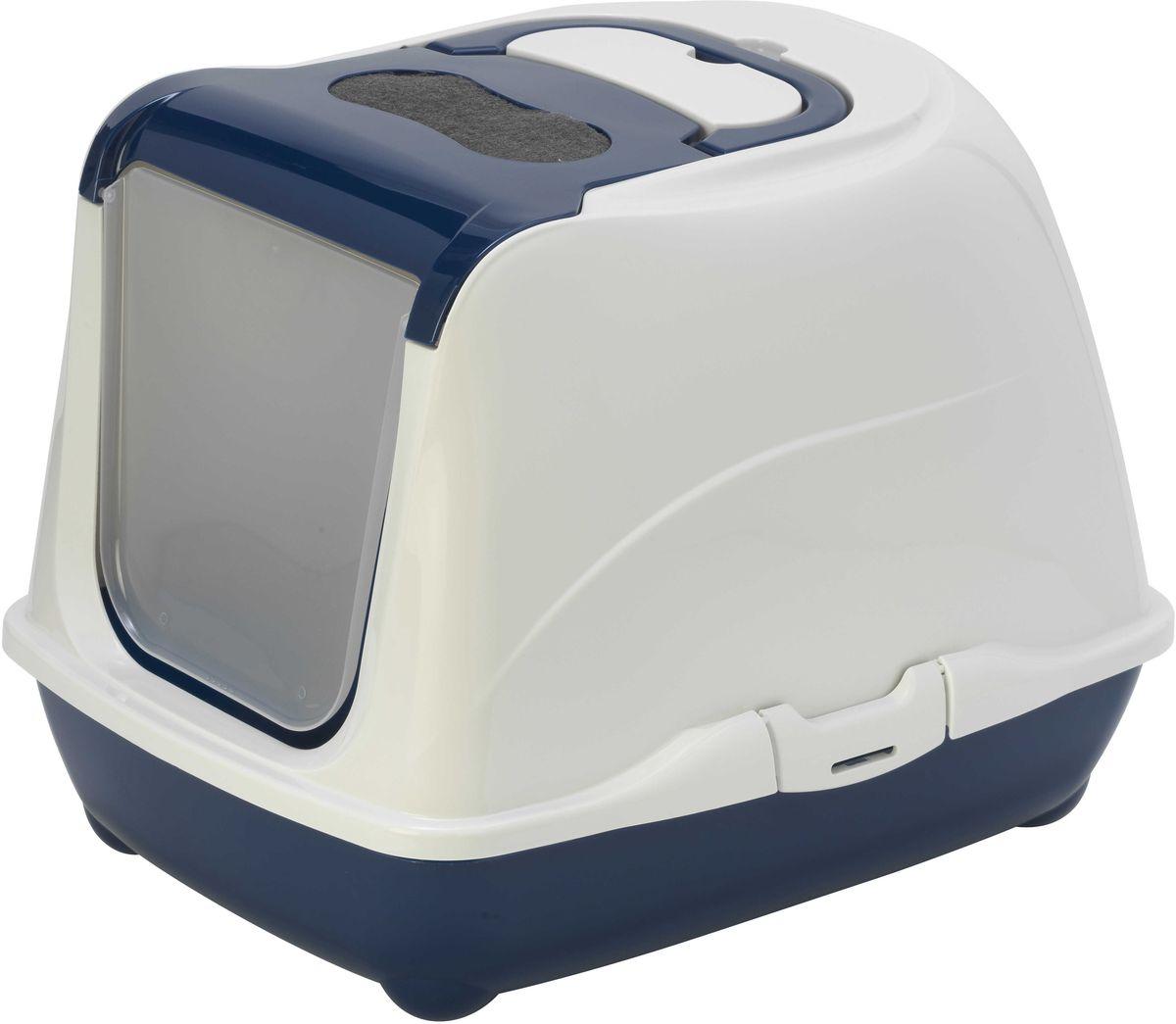 Туалет для кошек Moderna Flip Cat, закрытый, цвет: черника, 39 х 50 х 37 см0120710Закрытый туалет для кошек Flip Cat выполнен из высококачественного пластика. Туалет оснащен прозрачной открывающейся дверцей, сменным фильтром и удобной ручкой для переноски. Такой туалет избавит ваш дом от неприятного запаха и разбросанных повсюду частичек наполнителя. Кошка в таком туалете будет чувствовать себя увереннее, ведь в этом укромном уголке ее никто не увидит. Кроме того, яркий дизайн с легкостью впишется в интерьер вашего дома. Туалет легко открывается для чистки благодаря практичным защелкам по бокам.