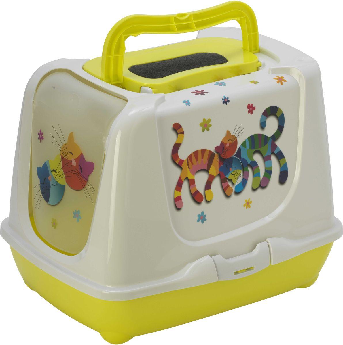 Туалет для кошек Moderna Trendy Cat. Друзья навсегда, закрытый, цвет: лимонный, 50 х 39,5 х 37,5 см0120710Закрытый туалет для кошек Trendy Cat. Друзья навсегда выполнен из высококачественного пластика. Туалет оснащен прозрачной открывающейся дверцей, сменным фильтром и удобной ручкой для переноски. Такой туалет избавит ваш дом от неприятного запаха и разбросанных повсюду частичек наполнителя. Кошка в таком туалете будет чувствовать себя увереннее, ведь в этом укромном уголке ее никто не увидит. Кроме того, яркий дизайн с легкостью впишется в интерьер вашего дома. Туалет легко открывается для чистки благодаря практичным защелкам по бокам.