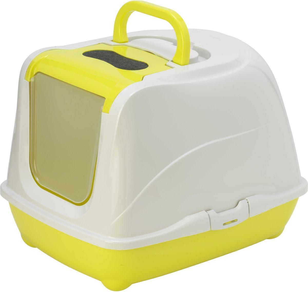 Туалет для больших кошек Moderna Flip Cat, закрытый, цвет: лимон, 58 х 45 х 42 см12171996Закрытый туалет для кошек Flip Cat выполнен из высококачественного пластика. Туалет оснащен прозрачной открывающейся дверцей, сменным фильтром и удобной ручкой для переноски. Такой туалет избавит ваш дом от неприятного запаха и разбросанных повсюду частичек наполнителя. Кошка в таком туалете будет чувствовать себя увереннее, ведь в этом укромном уголке ее никто не увидит. Кроме того, яркий дизайн с легкостью впишется в интерьер вашего дома. Туалет легко открывается для чистки благодаря практичным защелкам по бокам.