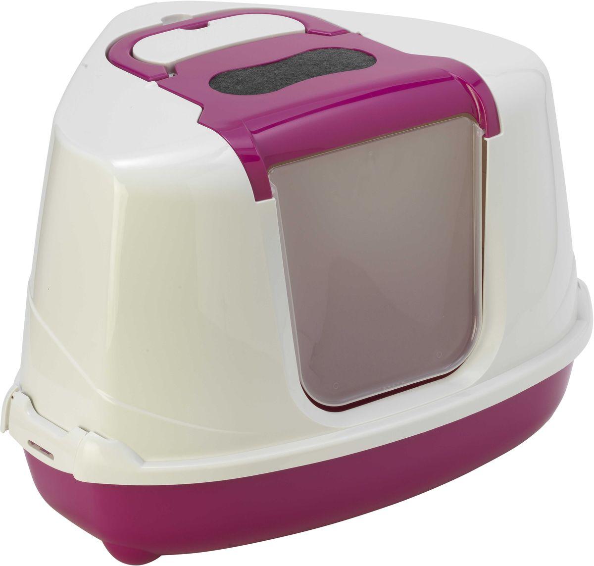 Туалет для кошек Moderna Flip Corner, закрытый, угловой, цвет: ярко-розовый, 56 х 45 х 39 см0120710Закрытый угловой туалет для кошек Moderna Flip Corner выполнен из высококачественного пластика. Он довольно вместительный и напоминает домик. Туалет оснащен прозрачной открывающейся дверцей, сменным фильтром и удобной ручкой для переноски. Такой туалет избавит ваш дом от неприятного запаха и разбросанных повсюду частичек наполнителя. Кошка в таком туалете будет чувствовать себя увереннее, ведь в этом укромном уголке ее никто не увидит. Кроме того, яркий дизайн с легкостью впишется в интерьер вашего дома. Туалет легко открывается для чистки благодаря практичным защелкам по бокам.