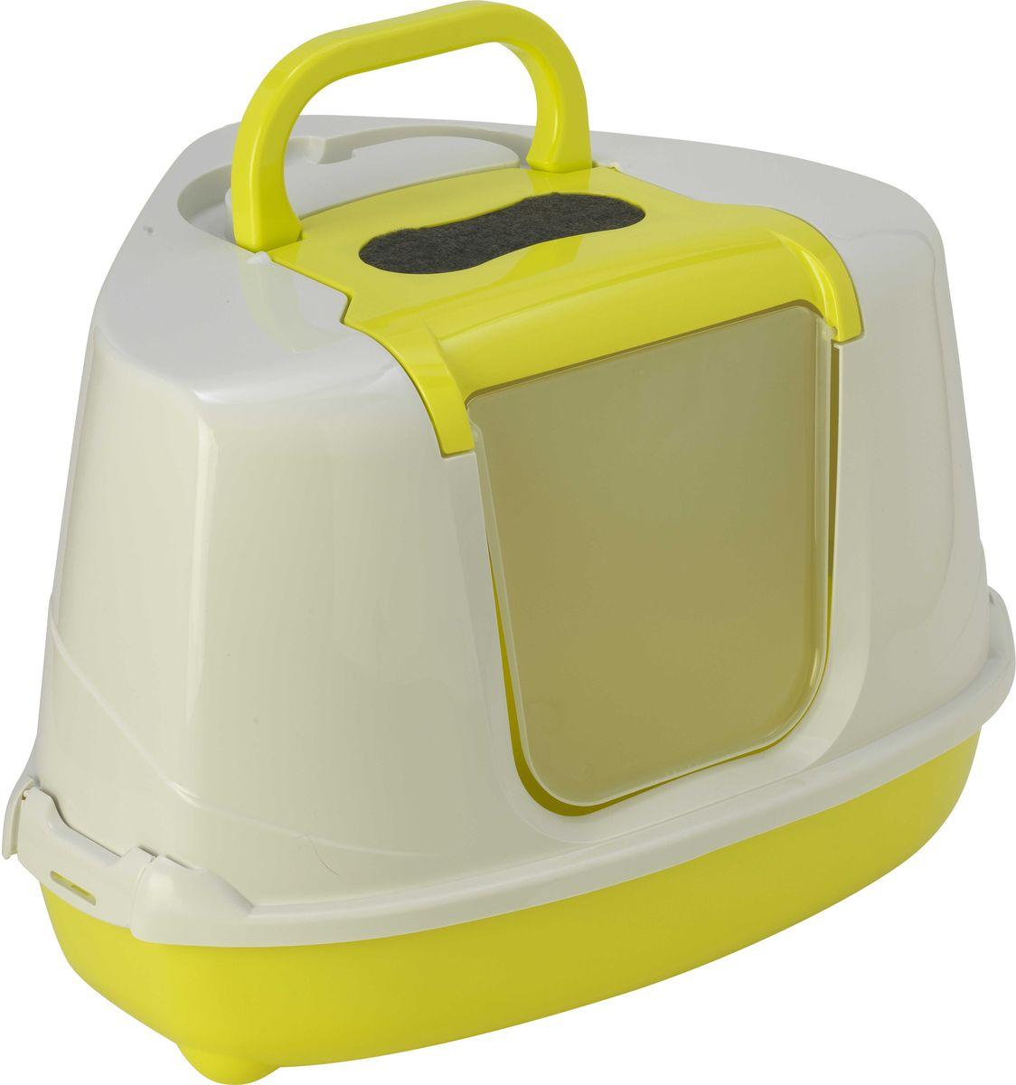 Туалет для кошек Moderna Flip Corner, закрытый, угловой, цвет: лимон, 56 х 45 х 39 см0120710Закрытый угловой туалет для кошек Moderna Flip Corner выполнен из высококачественного пластика. Он довольно вместительный и напоминает домик. Туалет оснащен прозрачной открывающейся дверцей, сменным фильтром и удобной ручкой для переноски. Такой туалет избавит ваш дом от неприятного запаха и разбросанных повсюду частичек наполнителя. Кошка в таком туалете будет чувствовать себя увереннее, ведь в этом укромном уголке ее никто не увидит. Кроме того, яркий дизайн с легкостью впишется в интерьер вашего дома. Туалет легко открывается для чистки благодаря практичным защелкам по бокам.