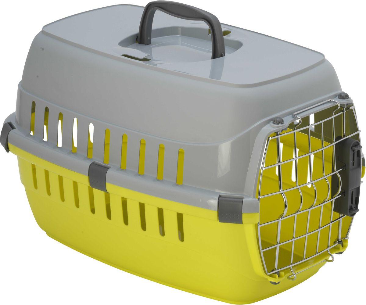 Переноска для животных Moderna Roadrunner 1, для авиаперевозок, замок IATA, цвет: лимон, 31 х 51 х 34 см0120710Переноска Moderna Roadrunner 1 выполнена из высококачественного пластика и имеет приятный внешний вид. Она достаточно вместительна и оснащена вентиляционными отверстиями в боковых частях, благодаря чему животное может дышать. Спереди расположена металлическая дверца-решетка с удобным замком. Сверху имеется ручка для удобной транспортировки. Переноска разбирается.