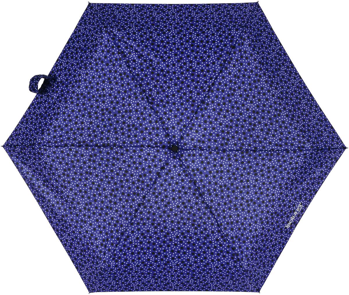 Зонт женский Isotoner Галактика, механический, 5 сложений, цвет: синий, мультиколор. 09137-3638Колье (короткие одноярусные бусы)Компактный женский зонт Isotoner изготовлен из металла и пластика. Каркас зонта на прочном металлическом стержне. Купол зонта изготовлен качественного полиэстера. Закрытый купол застегивается на липучку хлястиком. Практичная рукоятка закругленной формы разработана с учетом требований эргономики.Зонт складывается и раскладывается механическим способом.Такой зонт не только надежно защитит от дождя, но и станет стильным аксессуаром.