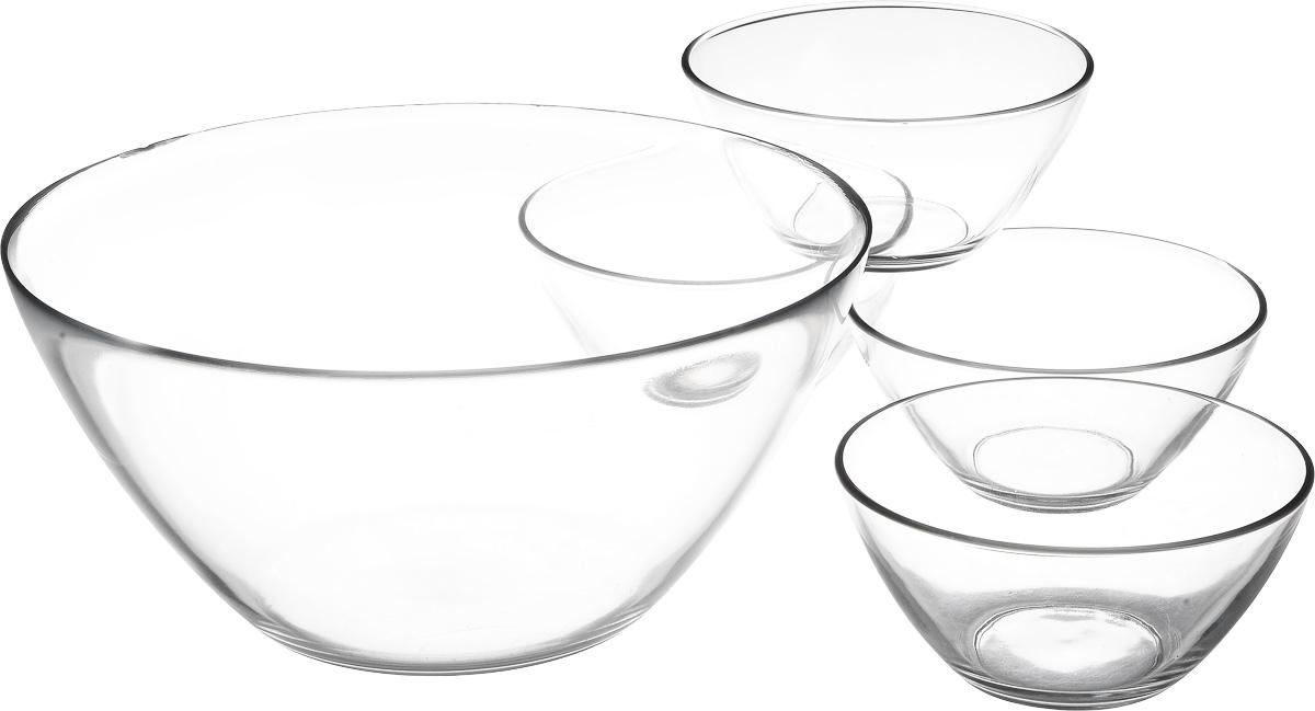 Набор салатников Luminarc Космос, 5 шт54 009312Набор Luminarc включает в себя 4 маленьких салатника и 1 большой. Изделия выполнены из высококачественного стекла. Салатники отлично подойдут для сервировки стола. Оригинальность дизайна набора придется по вкусу и ценителям классики, и тем, кто предпочитает утонченность и изысканность.Салатники можно мыть в посудомоечной машине.Диаметр большого салатника по верхнему краю: 23 см.Диаметр дна большого салатника: 10 см.Высота большого салатника: 11 см.Диаметр маленьких салатников по верхнему краю: 12 см.Диаметр дна маленьких салатников: 5 см.Высота маленьких салатников: 6 см.