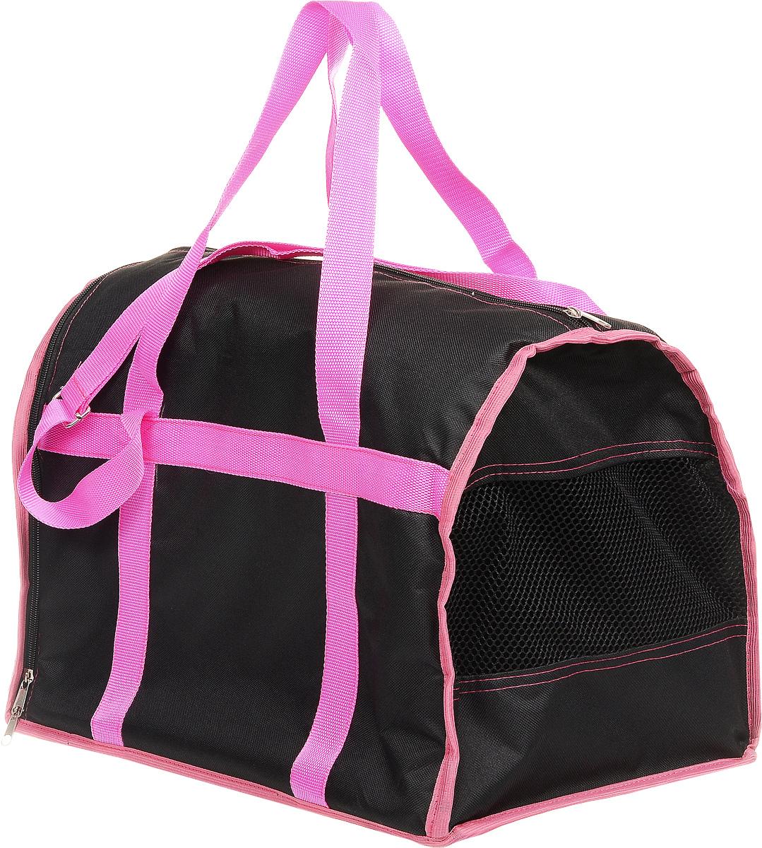 Сумка-переноска для животных Каскад Спорт, цвет: черный, розовый, 40 х 28 х 29 смCA-3505Текстильная сумка-переноска Каскад Спорт для собакмелких пород и кошек имеет твердое основание, которое непозволит животному провисать. С одной стороны переноскиимеется специальная сетчатая вставка, чтобы ваш любимец могдышать. С другой стороны сумка закрывается на застежку-молнию. В верхней части изделия есть застежка-молния, открывающая доступ в отделение для необходимых вам вещей.Для удобной переноски у сумки имеются две ручки ирегулируемая лямка.При необходимости сумку можно сложить. Сумка-переноска Каскад Спорт понравится вашимдомашним любимцам.