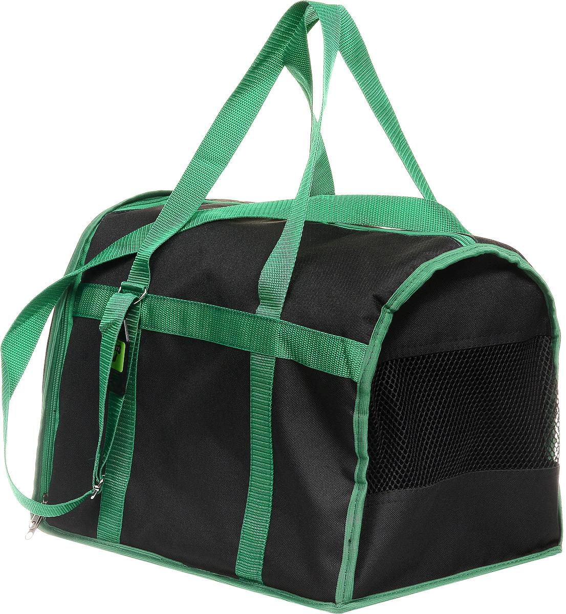 Сумка-переноска для животных Каскад Спорт, цвет: черный, зеленый, 40 х 28 х 29 смCA-3505Текстильная сумка-переноска Каскад Спорт для собакмелких пород и кошек имеет твердое основание, которое непозволит животному провисать. С одной стороны переноскиимеется специальная сетчатая вставка, чтобы ваш любимец могдышать. С другой стороны сумка закрывается на застежку-молнию. В верхней части изделия есть застежка-молния, открывающая доступ в отделение для необходимых вам вещей.Для удобной переноски у сумки имеются две ручки ирегулируемая лямка.При необходимости сумку можно сложить. Сумка-переноска Каскад Спорт понравится вашимдомашним любимцам.