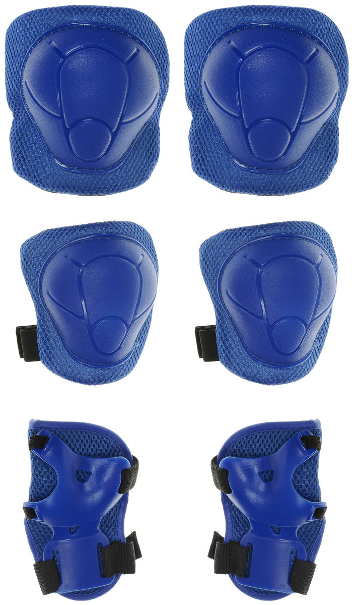 Комплект защиты Action, для катания на роликах, цвет: синий. Размер L. ZS-100ZS-100В комплект защитной экипировки Action входят наколенники и налокотники, которые закрывают и предохраняют от ударов локти и колени - места вечных ссадин у детей. Специальная защита для запястий защищает кисть от ударов и предохраняет от вывихов. Вывихи, ушибы и переломы запястий - вообще самые частые травмы при катании на роликах, вне зависимости от стиля катания, опытности и других факторов. После пары падений любой, даже самый самонадеянный человек начинает осознавать необходимость защитной экипировки. Так надо ли подвергать себя или своего ребенка опасности? Лучше уж приобрести защиту и не забывать о ней даже тогда, когда вы научитесь хорошо кататься.Защитная экипировка легко надевается и крепится при помощи ремней на липучках.Размер L соответствует размеру коньков 38-43.Размер наколенников: 18,5 х 14 х 4,5 см.Размер налокотников: 16,5 х 12 х 4,5 см.Размер защиты запястий: 15 х 9 см.