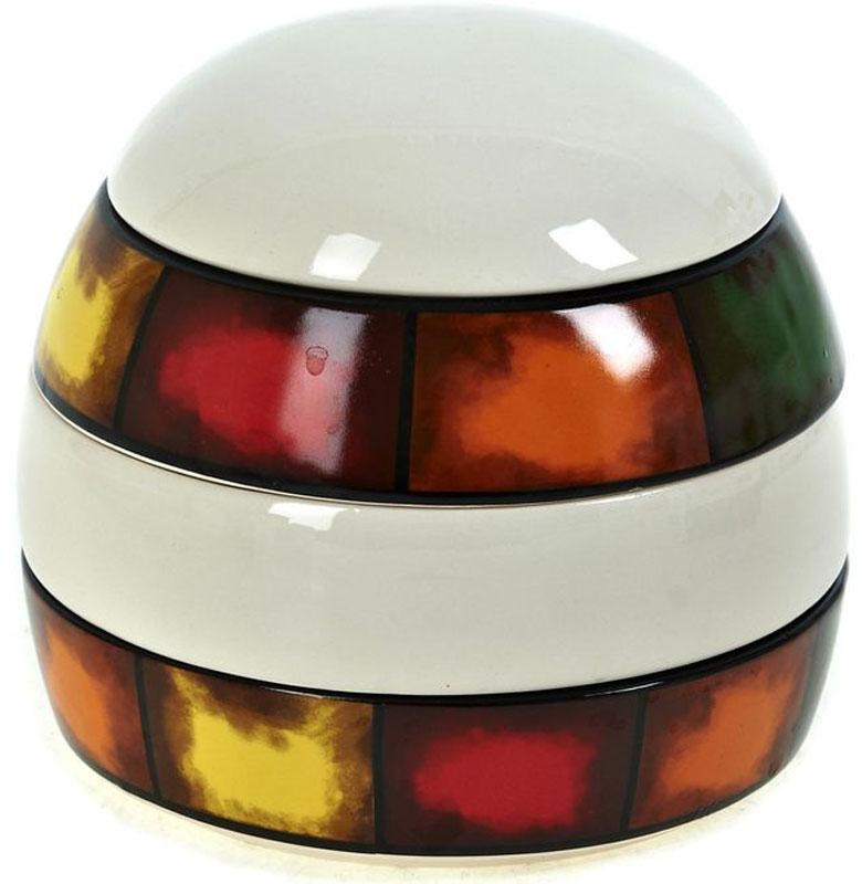 Банка для сыпучих продуктов ENS Group Мармелад, 350 мл21395599Банка для специй Мармелад изготовлена из прочной керамики, закрывается крышкой. Банка имеет 3 секции для хранения различных видов специй, декорирована разноцветными яркими полосками. Оригинальная емкость не только поможет хранить разнообразные сыпучие продукты, но и стильно дополнит интерьер кухни.