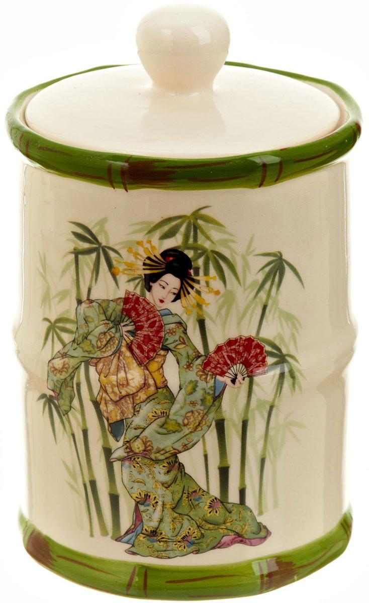 Банка для сыпучих продуктов Polystar Harmony, 600 млVT-1520(SR)Банка для сыпучих продуктов Harmony изготовлена из прочной керамики, закрывается крышкой. Изделие оформлено ярким рисунком в японском стиле. Банка прекрасно подойдет для хранения различных сыпучих продуктов: чая, кофе, сахара, круп и многого другого. Изящная емкость не только поможет хранить разнообразные сыпучие продукты, но и стильно дополнит интерьер кухни.