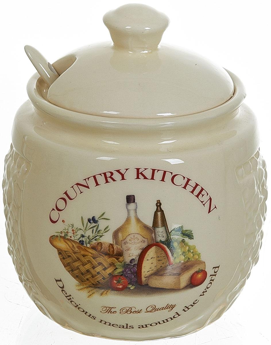 Сахарница Polystar Country Kitchen, с ложкой, 450 мл115510Сахарница Country Kitchen с крышкой и ложкой изготовлена из керамики и украшена оригинальным рисунком. Емкость универсальна, подойдет как для сахара, так и для меда.