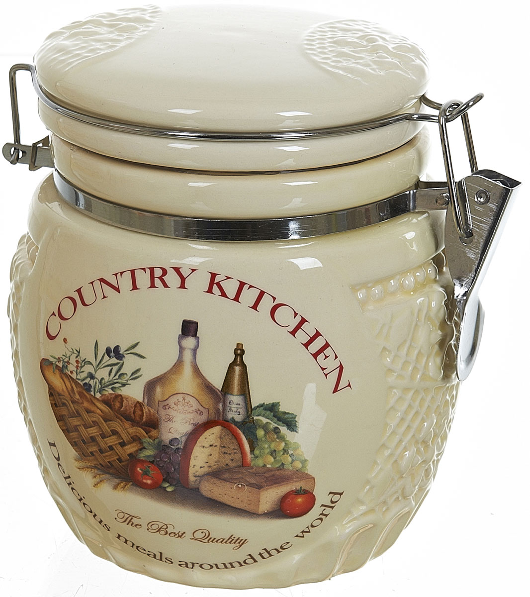 Банка для сыпучих продуктов Polystar Country Kitchen, 730 млVT-1520(SR)Банка для сыпучих продуктов Country Kitchen изготовлена из прочной керамики, закрывается крышкой. Банка прекрасно подойдет для хранения различных сыпучих продуктов: чая, кофе, сахара, круп и многого другого. Благодаря силиконовой прослойке и бугельному замку, крышка герметично закрывается, что позволяет дольше сохранять продукты свежими. Изящная емкость не только поможет хранить разнообразные сыпучие продукты, но и стильно дополнит интерьер кухни.