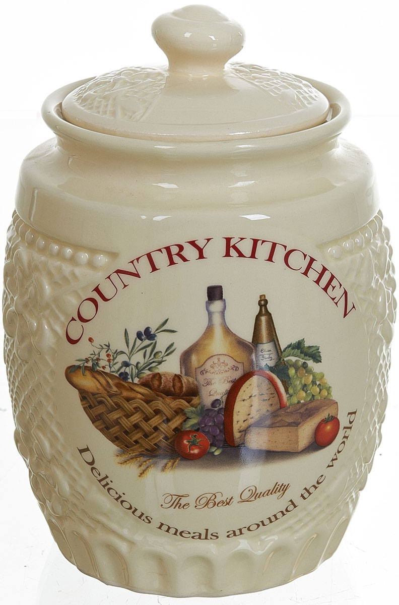 Банка для сыпучих продуктов Polystar Country Kitchen, 1 л21395599Банка для сыпучих продуктов Country Kitchen изготовлена из прочной керамики, закрывается крышкой. Банка прекрасно подойдет для хранения различных сыпучих продуктов: чая, кофе, сахара, круп и многого другого. Изящная емкость не только поможет хранить разнообразные сыпучие продукты, но и стильно дополнит интерьер кухни.