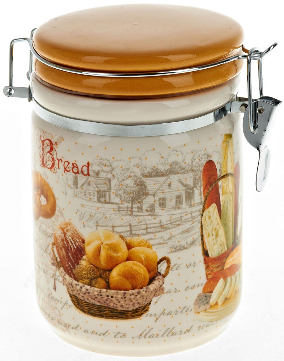 Банка для сыпучих продуктов Polystar Хлеб, 700 млАксион Т-33Банка для сыпучих продуктов Хлеб изготовлена из прочной керамики, закрывается крышкой. Банка прекрасно подойдет для хранения различных сыпучих продуктов: чая, кофе, сахара, круп и многого другого. Благодаря силиконовой прослойке и бугельному замку, крышка герметично закрывается, что позволяет дольше сохранять продукты свежими. Изящная емкость не только поможет хранить разнообразные сыпучие продукты, но и стильно дополнит интерьер кухни.