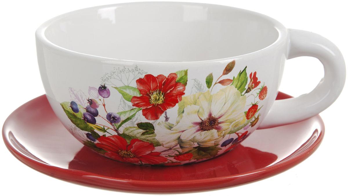 Чашка суповая Polystar Summer, 500 млFS-91909Чашка с блюдцем Polystar Summer изготовленная из высококачественной керамики с красочным цветочным рисунком, подойдет для красивой сервировки первых блюд.