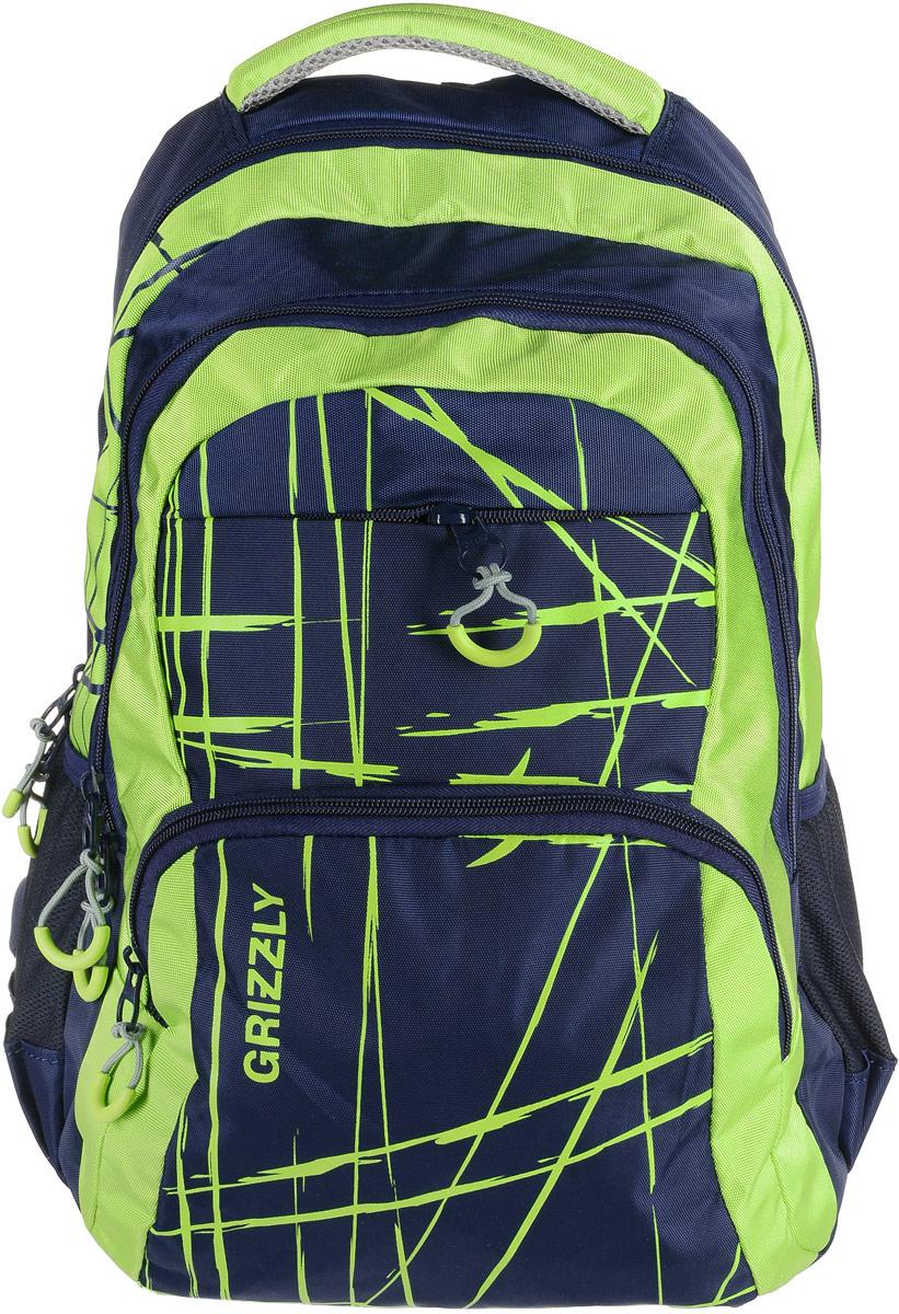 Рюкзак мужской Grizzly, цвет: синий, салатовый. RU-715-3/1ГризлиРюкзак Grizzly - это красивый и удобный рюкзак, который подойдет всем, кто хочет разнообразить свои будни. Рюкзак выполнен из плотного материала с оригинальным принтом. Рюкзак содержит два вместительных отделения, каждое из которых закрывается на молнию. Внутри первого отделения имеется открытый накладной карман, на стенке которого расположился врезной карман на молнии. Внутри второго отделения расположены три открытых накладных кармана и карман-сетка на молнии. Снаружи, по бокам изделия, расположены два открытых кармана. Лицевая сторона дополнена двумя вместительными карманами на молниях. Рюкзак оснащен мягкой укрепленной ручкой для переноски, петлей для подвешивания и двумя практичными лямками регулируемой длины. У лямок имеется нагрудная стяжка-фиксатор.Практичный рюкзак станет незаменимым аксессуаром и вместит в себя все необходимое.