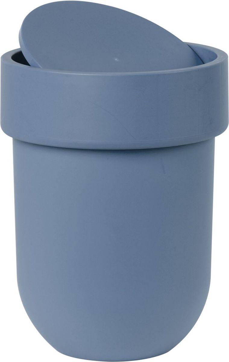 Контейнер мусорный Umbra Touch, с крышкой, цвет: дымчато-синий, 19,5 х 19,5 х 30 см68/5/2Лаконичный и простой контейнер из полипропилена. Оснащен удобной крышкой, которая аккуратно скрывает мусор.Размеры: 19,5 х 19,5 х 30 см
