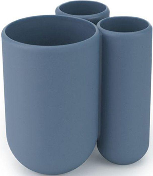 Стакан для зубных щеток Umbra Touch, цвет: дымчато-синий, 8 х 10 х 10 смES-412Удобная подставка для зубных щеток с тремя отделениями. Помимо щеток, вмещает также зубную пасту. Изготовлена из приятного на ощупь литого пластика. Дизайн: Alan Wisniewski