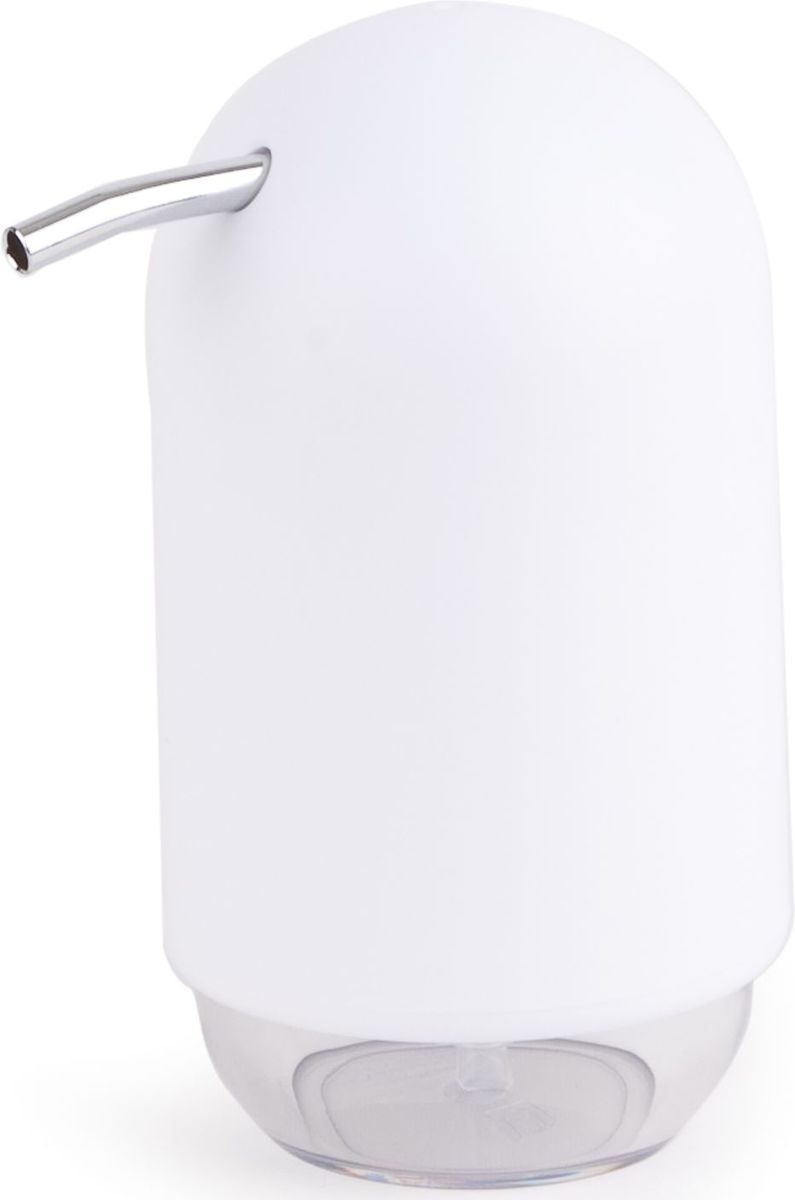 Диспенсер для мыла Umbra Touch, цвет: белый, 14 х 9 х 7 см25051 7_зеленыйМыло душистое, полотенце пушистое - если мыть руки, то с этим слоганом. Потому что приятно пахнущее мыло, например, ванильное или земляничное, поднимает настроение. А если оно внутри красивого диспенсера, который поможет отмерить нужное количество, это вдвойне приятно. Те, кто покупает жидкое мыло, знают, что очень часто оно продается в некрасивых упаковках или очень больших бутылках, которые совершенно неудобно ставить на раковину. Проблема решена вот с таким лаконичным симпатичным диспенсером. Теперь вы не забудете вымыть руки перед едой! Обратите внимание на прозрачную нижнюю часть: благодаря ей вы сразу увидите, если мыло кончается, и сможете пополнить резервуар. Объем - 235 мл.P.S. (Важная подсказка): диспенсер также можно использовать на кухне для моющего средства, получается очень экономно.