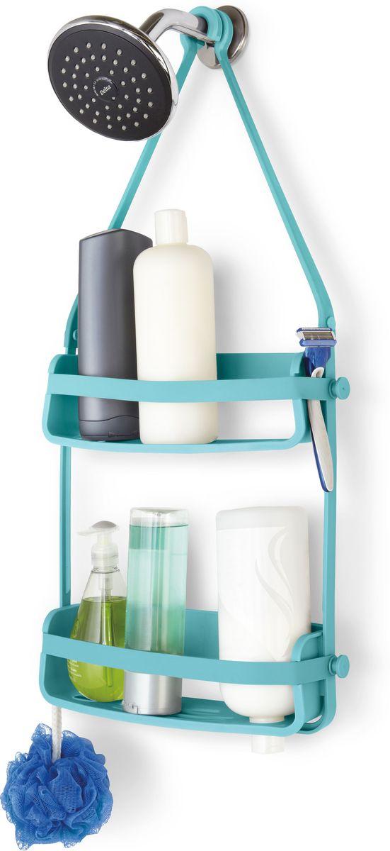 Органайзер для душа Umbra Flex, цвет: голубой, 65 х 33 х 10 см28907 4Органайзер Flex был разработан, чтобы вместить максимум вещей на минимальном пространстве. Прочная основа держит вес всех флаконов (до 3,5 кг), а гибкие силиконовые ленты со специальными крючками на концах позволяют повесить органайзер на крепление для душа или штангу для шторки в ванной. На двух полках помещаются даже очень большие флаконы с шампунем. В каждой проделано отверстие, чтобы перевернув пузырек вверх ногами, вы использовали его как диспенсер (что удобно, когда средство заканчивается). Плюс специальное место для мыла, и пространства по краям, чтобы поместить бритву и подвесить мочалку.