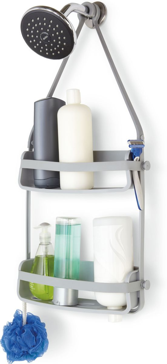 Органайзер для душа Umbra Flex, цвет: серый, 65 х 33 х 10 см391602Органайзер Flex был разработан, чтобы вместить максимум вещей на минимальном пространстве. Прочная основа держит вес всех флаконов (до 3,5 кг), а гибкие силиконовые ленты со специальными крючками на концах позволяют повесить органайзер на крепление для душа или штангу для шторки в ванной. На двух полках помещаются даже очень большие флаконы с шампунем. В каждой проделано отверстие, чтобы перевернув пузырек вверх ногами, вы использовали его как диспенсер (что удобно, когда средство заканчивается). Плюс специальное место для мыла, и пространства по краям, чтобы поместить бритву и подвесить мочалку.