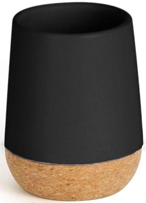 Стакан для ванной Umbra Kera, цвет: черный, 10,2 х 7,6 х 7,6 см531-401Простой и элегантный аксессуар, выполненный в минималистичном скандинавском стиле. Изготовлен из натуральных материалов: керамики и пробкового дерева. Простые линии и естественные цвета делают стакан универсальным для любого типа ванной.Дизайн: Erika Kovesdi