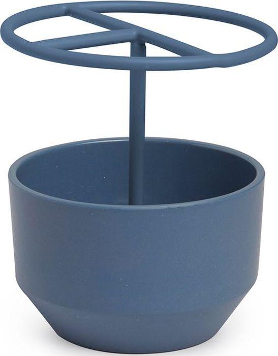 Стакан для зубных щеток Umbra Fiboo, цвет: дымчато-синий, 10,3 х 9,5 х 9,5 см531-105Подставка для зубных щеток изготовлена из комбинированного материала (меламин и бамбуковое волокно), который отличает экологичность, износостойкость и уникальный матовый эффект. Благодаря широкому горлышку в емкость также помещаются тюбики с зубной пастой и электрические зубные щетки.Дизайн: Wesley Chau