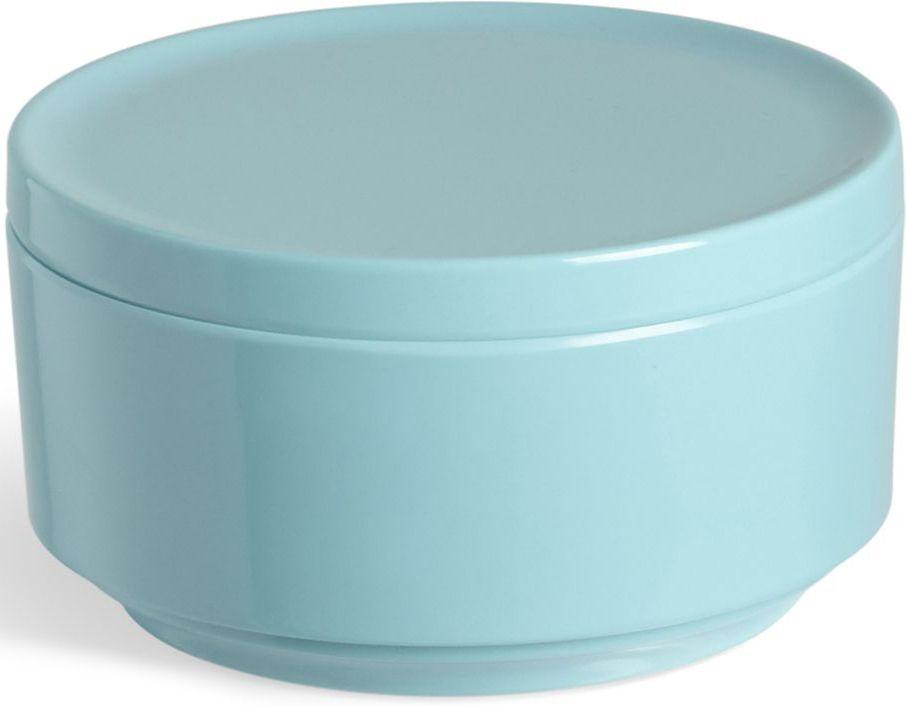 Контейнер для хранения Umbra Step, цвет: ярко-голубой, 7,1 х 12,7 х 12,7 см68/5/1Невероятно аккуратный и удобный контейнер из литого меламина для хранения ватных дисков и других мелочей в ванной. Блангодаря крышке, ватные диски не намокнут и не покроются пылью.Сочетается с другими аксессуарами из коллекции STEP Дизайнер Umbra Studio
