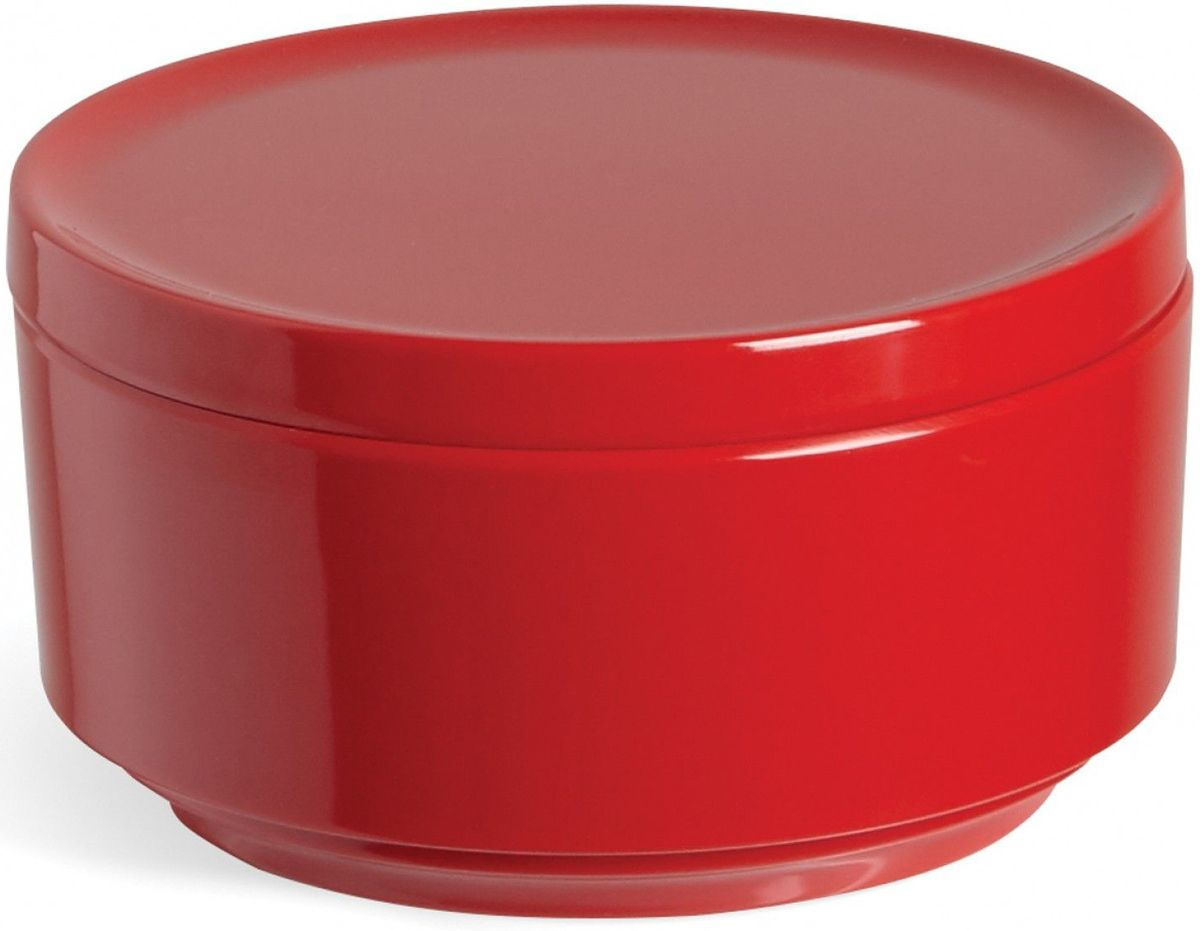 Контейнер для хранения Umbra Step, цвет: красный, 7,1 х 12,7 х 12,7 см68/5/3Невероятно аккуратный и удобный контейнер из литого меламина для хранения ватных дисков и других мелочей в ванной. Блангодаря крышке, ватные диски не намокнут и не покроются пылью.Сочетается с другими аксессуарами из коллекции STEP Дизайнер Umbra Studio