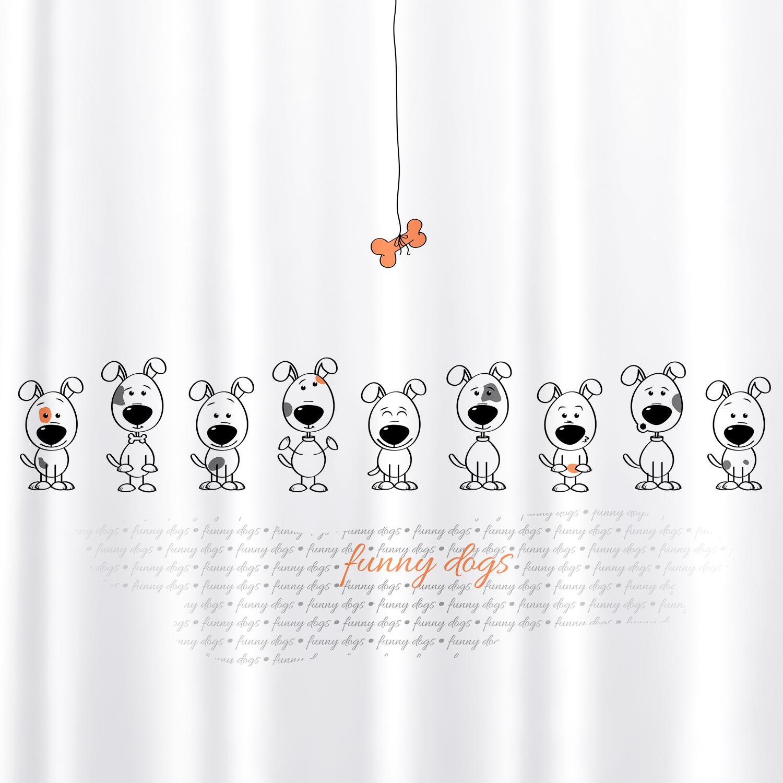 Штора для ванной комнаты Tatkraft Funny Dogs, с кольцами, 180 х 180 см6.295-875.0Штора для ванной комнаты Tatkraft Funny Dogs выполнена из высококачественного полиэстера с водоотталкивающим и антигрибковым покрытием. Изделие приятно на ощупь, быстро высыхает. В комплекте прилагаются овальные пластиковые кольца.Такая штора прекрасно впишется в любой интерьер ванной комнаты и идеально защитит от брызг. Можно стирать в стиральной машине при температуре 40°С. Количество колец: 12 шт.