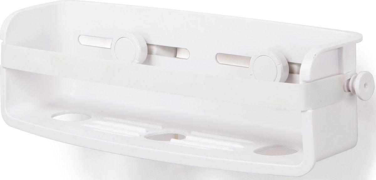 Полочка для душа Umbra Flex, цвет: белый, 8,9 х 33 х 11,4 см531-105Дополнительное место для хранения в душе не бывает лишим. Особенно, если это место будет всегда перед глазами. Компактная полочка для душа Flex, куда поместится всё самое необходимое: мыло, бутылочки с гелем для душа и шампунем и мочалка, крепится к стене на две специально разработанные присоски с запатентованной технологией Gel-Lock™. Крепления прочно удерживаются на плитке, стекле и других гладких поверхностях. В полочке предусмотрено отверстие, чтобы перевернув пузырек вверх ногами, вы использовали его как диспенсер. Благодаря эластичным перемычкам удержит даже самые большие бутылки с гелями и шампунями. Отверстия в полочке не дадут воде застаиваться. Дизайнер Umbra Studio