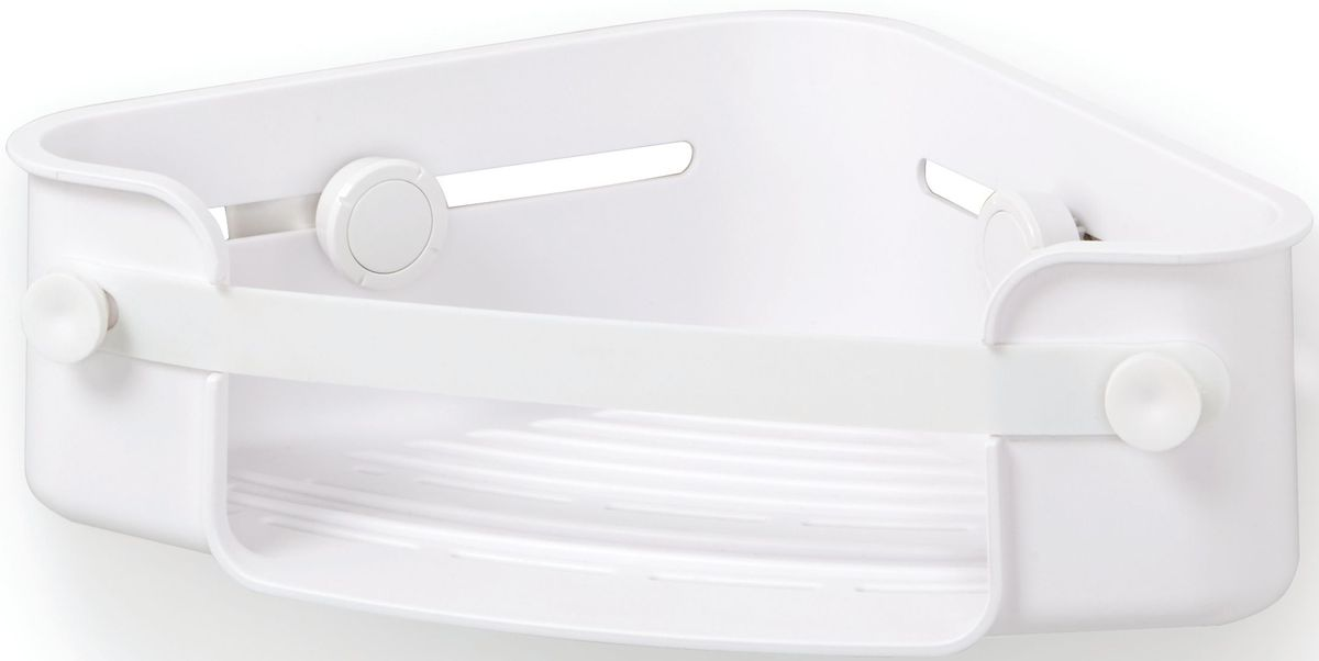 Полочка для душа Umbra Flex, угловая, цвет: белый, 8,3 х 30,5 х 19,1 см531-105Дополнительное место для хранения в душе не бывает лишим. Особенно, если это место будет всегда перед глазами. На компактную угловую полочку для душа Flex поместится всё самое необходимое: мыло, бутылочки с гелем для душа и шампунем и мочалка, крепится к стене на две специально разработанные присоски с запатентованной технологией Gel-Lock™. Крепления прочно удерживаются на плитке, стекле и других гладких поверхностях. В полочке предусмотрено отверстие, чтобы перевернув пузырек с шампунем вверх ногами, вы использовали его как диспенсер. Благодаря эластичным перемычкам удержит даже самые большие бутылки с гелями и шампунями. Отверстия в полочке не дадут воде застаиваться. Дизайнер Umbra Studio