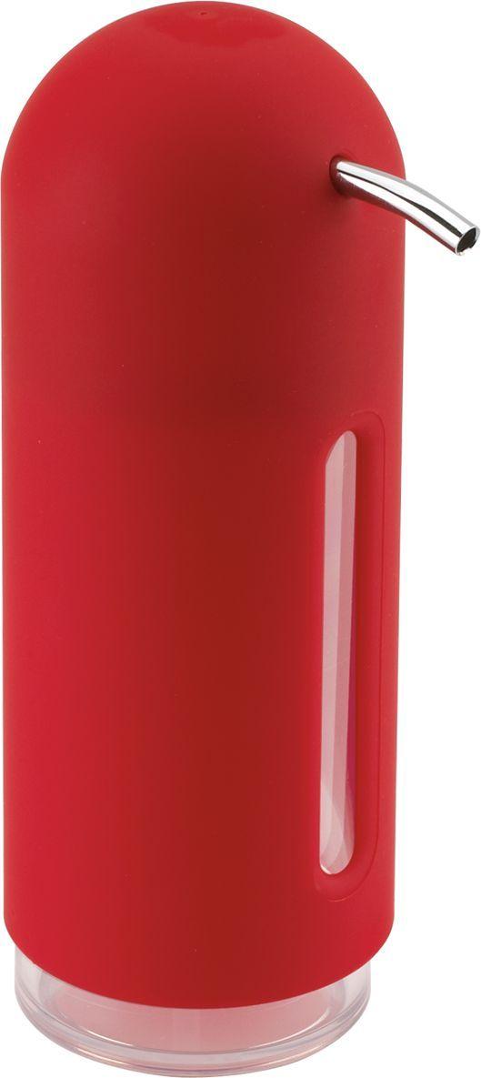Диспенсер для жидкого мыла Umbra Penguin, цвет: красный, 19 х 6 х 6 смИС.072166Мыло душистое, полотенце пушистое - если мыть руки, то с этим слоганом. Потому что приятно пахнущее мыло, например, ванильное или земляничное, поднимает настроение. А если оно внутри красивого диспенсера, который поможет отмерить нужное количество, это вдвойне приятно. Те, кто покупает жидкое мыло, знают, что очень часто оно продается в некрасивых упаковках или очень больших бутылках, которые совершенно неудобно ставить на раковину. Проблема решена вот с таким лаконичным симпатичным диспенсером. Теперь вы не забудете вымыть руки перед едой! P.S. (Важная подсказка): диспенсер также можно использовать на кухне для моющего средства, получается очень экономно.