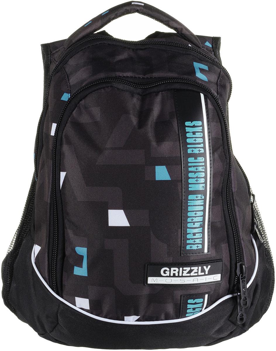 Рюкзак мужской Grizzly, цвет: черный, бирюзовый, белый. RU-707-5/1RU-707-5/1Рюкзак Grizzly - это красивый и удобный рюкзак, который подойдет всем, кто хочет разнообразить свои будни. Рюкзак выполнен из плотного материала с оригинальным графическим принтом. Рюкзак содержит два вместительных отделения, каждое из которых закрывается на молнию. Внутри первого отделения имеется накладной карман на застежке-молнии. Второе отделение содержит два открытых накладных кармана и три кармашка под канцелярские принадлежности. Снаружи, по бокам изделия, расположены два открытых накладных сетчатых кармана. Рюкзак оснащен мягкой ручкой для переноски и двумя практичными лямками регулируемой длины.Практичный рюкзак станет незаменимым аксессуаром и вместит в себя все необходимое.