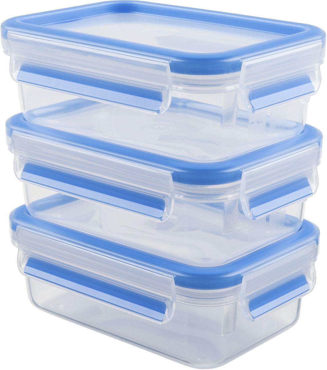 Набор контейнеров Emsa Clip&Close, цвет: голубой, прозрачный, 3 предмета, 550 млVT-1520(SR)Набор Emsa Clip&Close состоит из трех контейнеров одинакового объема, изготовленных из высококачественного пищевого пластика, который выдерживает температуру от -40°С до +110°С, не впитывает запахи и не изменяет цвет. Это абсолютно гигиеничный продукт, который подходит для хранения даже детского питания. Изделия снабжены крышками, плотно закрывающимися на 4 защелки. Герметичность достигается за счет специальных силиконовых прослоек, которые позволяют использовать контейнер для хранения не только пищи, но и напитков. В таком контейнере продукты долгое время сохраняют свою свежесть. Прозрачные стенки позволяют просматривать содержимое. Сбоку имеются отметки литража. Изделия подходят для домашнего использования, для пикников, поездок, такие контейнеры удобно брать с собой на работу или учебу. Можно использовать в СВЧ-печах, холодильниках, посудомоечных машинах, морозильных камерах. Объем контейнеров: 0,55 л.